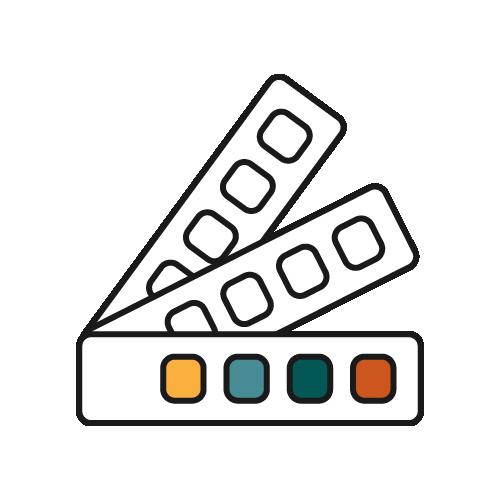 Ikon för tjänster inom grafisk design som Åkerblom Kommunikation har tagit fram 2021.